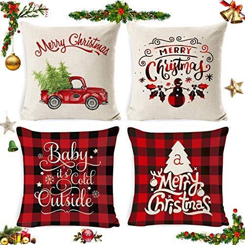 Sunshine smile 4 Pack Natale federe Cuscini,Fodere per Cuscini Natale,Fodere per Cuscini Decorate,copricuscini Divano Natale,Fodere per Cuscini Divano,Christmas Fodere per Cuscini (11)