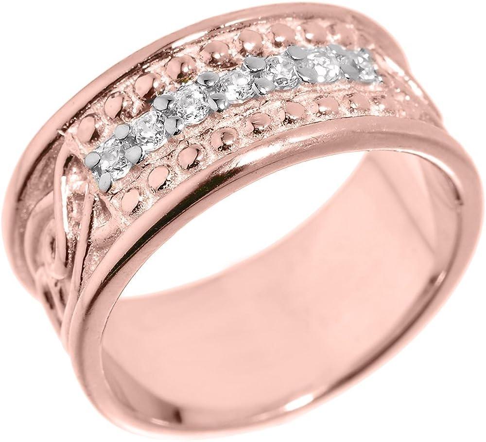 Men's 10k Rose Gold 8 mm Celtic Knot Band 7-Stone Diamond Wedding Anniversary Ring