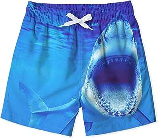 Kid Boys Shark Swim Trunks Outdoor Beach Board Shorts Novelty Summer Drawstring Pockets Toddler Bathing Suit 6-7T