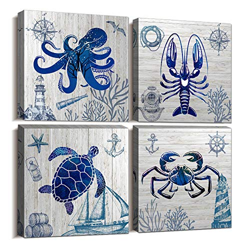 blue Ocean Theme Animal Octopus Sea Turtle abstract Watercolor painting Canvas Wall Art for Living Room Bedroom wall decor Bathroom decorations,4 piece Modern Home decor inspirational wall paintings