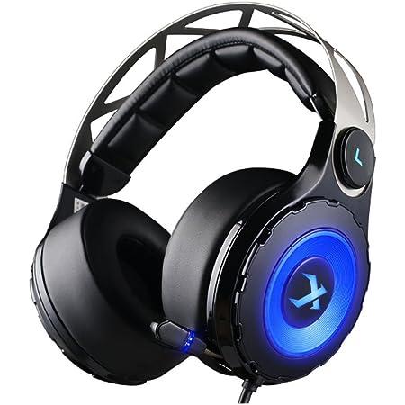 XIBERIA T18 7.1 Auriculares gaming con sonido envolvente virtual que encima de las orejas y Micrófono retráctil para PC, PS4 (Negro)