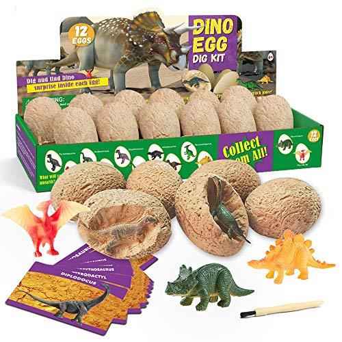 QUCHENG Oeuf de Dinosaure creusant kit-12 Dinosaures différents, œuf de Dino Jouet D'archéologie Fête de Pâques Jouets STEM Jouets éducatifs pour 6 Ans Garçons Filles Enfants Cadeau