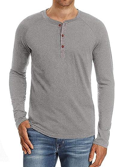 Camiseta Henley de manga larga para hombre con botones y cuello redondo