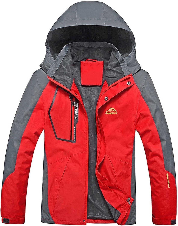 Men's Lightweight Waterproof Hooded Rain Jacket Windproof Coat Outdoor Raincoat Shell Jacket for Hiking Travel