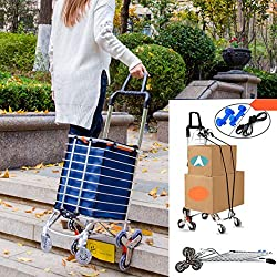 Hereinway Foldable Shopping Cart Portable Grocery Cart Utility Lightweight Stair Climbing Cart with Rolling Swivel Wheels and Removable Waterproof Canvas Removable Bag