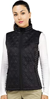 Women's Quilted Vest Padding Lightweight Insulated Puffer Vest with Pockets,Zip Up and Water Resistant,Black