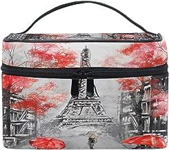 Xling Makeup Bag Vintage Paris Eiffel Tower Cosmetic Case Travel Portable Carry Cosmetic Brush Box Organizer Storage for Women