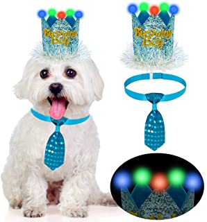 KOOLTAIL LED Dog Birthday Hat and Tie Set - Cute and Shiny Pet Party Supplies, Crown and Adjustable Necktie Collar, Unique...