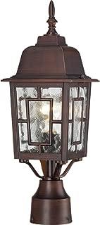 Nuvo Lighting 60/4928 Banyon One Light Post Lantern 100 Watt A19 Max. Clear Water Glass Rustic Bronze Outdoor Fixture
