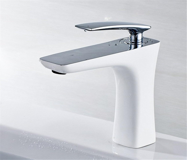 Bijjaladeva Antique Bathroom Sink Vessel Faucet Basin Mixer Tap All copper half-painted Galvanized flat handle modern minimalist bathroom sink basin and cold water taps A