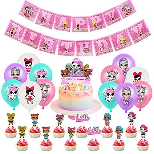 BESTZY LOL Geburtstag Dekorationen,LOL Thema Partyzubehör SetLOL Überraschung Puppen Geburtstag Deko Luftballons für Mädchen Baby Kinder Geburtstag Party