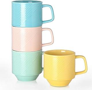 Adewnest Stackable Coffee Mugs Set: 15 Ounce Large Stacking Ceramic Mugs Set for Coffee Mocha Latte Tea Milk - Set of 4 Bi...