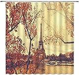 Cortina de Ducha de la Torre Eiffel Otoño París Ciudad romántica Lago Paisaje de otoño Tela Decoración de baño Set Incluye Ganchos 72 X 72 Pulgadas