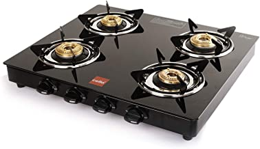 Cello Prima Gas Stove 4 Burner Glass Top, Black, ISI Certified