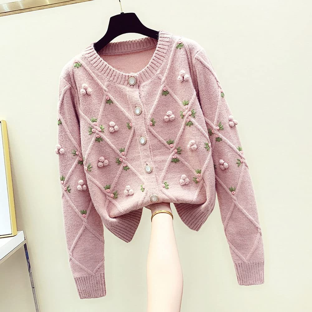 XXDTG Ladies Sweater O sale Neck Breasted Single Pink Cardigan Gifts Oversi