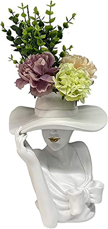 Lucakuins Elegant Goddess Body Vase, Greek Head Vase Statue for Home Decoration, Face Planter Flower Vases for Decor (Full White)