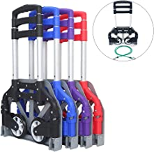 FCH Folding Hand Truck Aluminum Portable Folding Hand Cart 165lbs Capacity Hand Cart and Dolly Ideal for Home, Auto, Office,Travel Use,Black