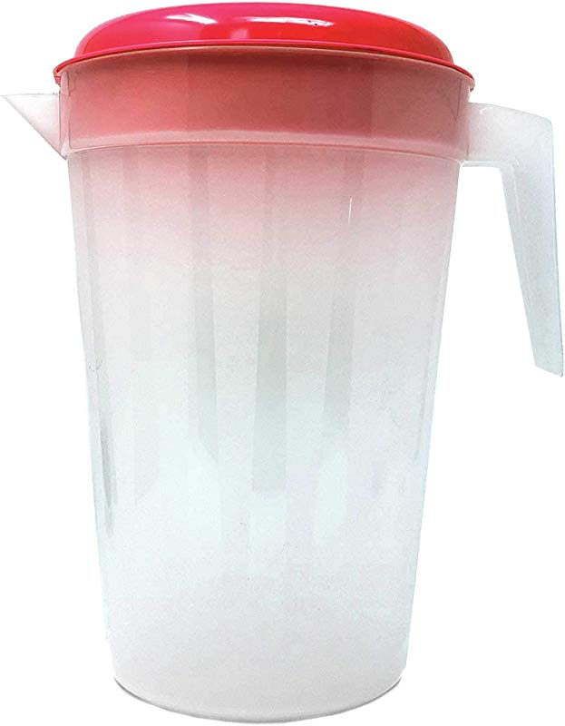 Heavy Duty 1 Gallon 4 5 Liter Round Clear Plastic Pitcher Jug With Lid See Through Base Handle For Water Iced Tea Beverages 1 Piece