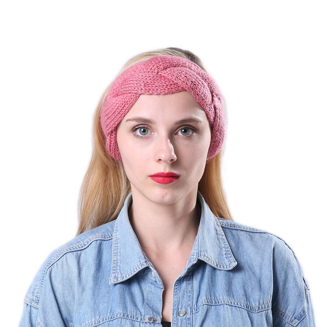 YueLian Women's Wool Knit Braided Cold Weather Thermo Headband Solid (peach)