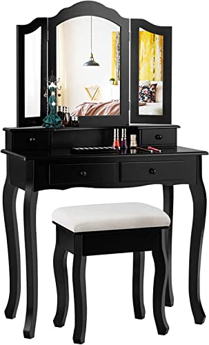 new arrival Giantex Vanity Table outlet sale sale Set with Tri-Folding Mirror and 4 Drawers, Modern Bedroom Bathroom Dressing Table Makeup Desk with Cushioned Stool, for Women Girls (Black) online