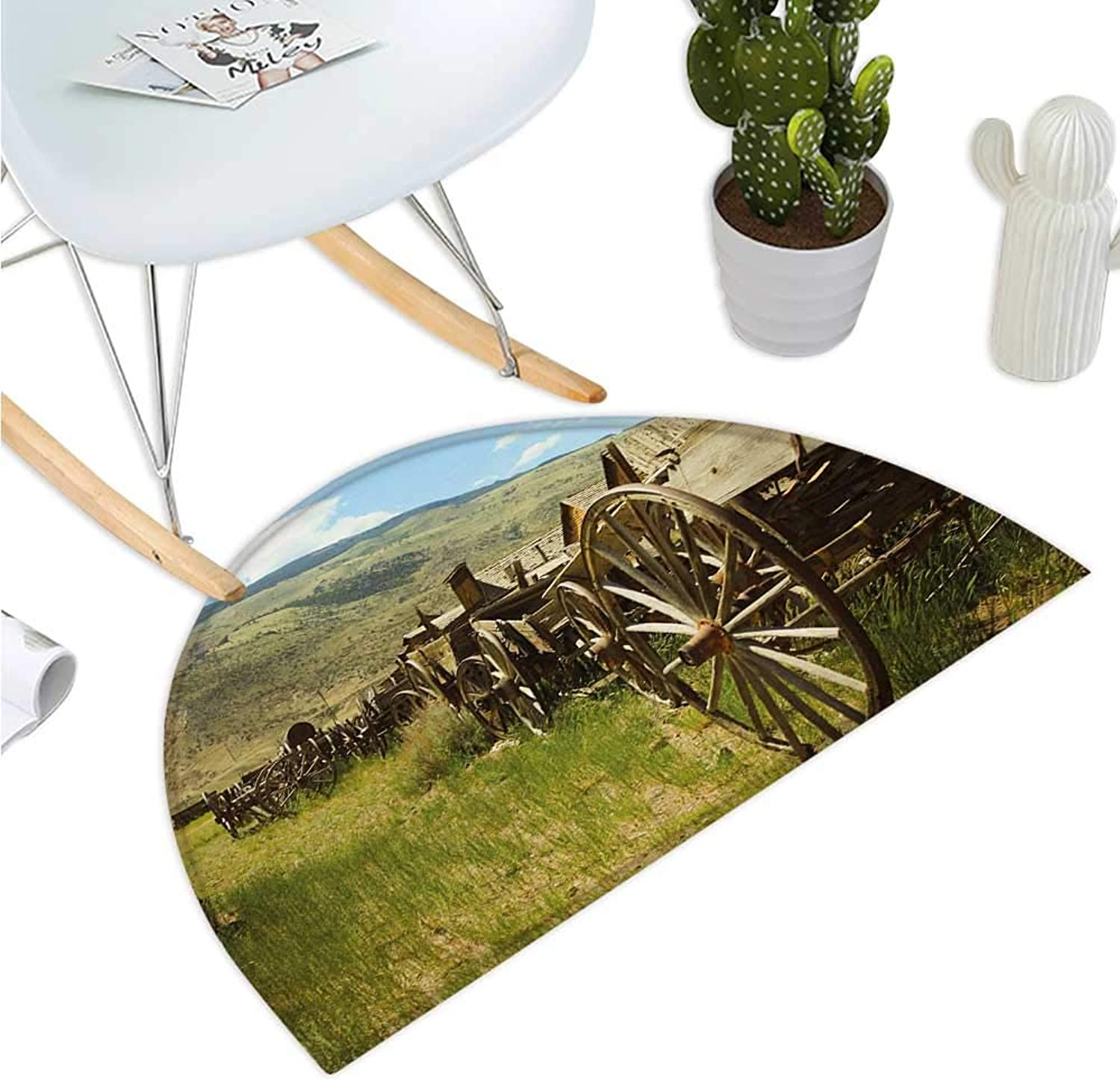 Barn Wood Wagon Wheel Semicircular Cushion Line of Antique Carriages in Rural Village Farm and Hills Entry Door Mat H 39.3  xD 59  Green Brown Pale bluee