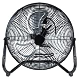 Simple Deluxe 12 Inch 3-Speed High Velocity Heavy Duty Metal Industrial Floor Fans Oscillating Quiet for Home, Commercial, Residential, and Greenhouse Use, Outdoor/Indoor, Black
