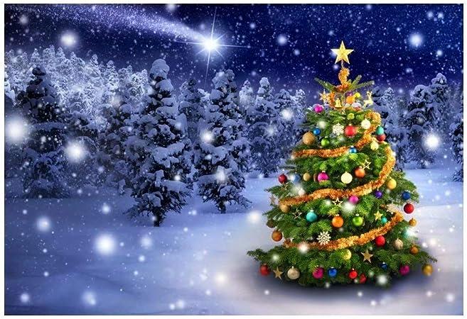 OFILA Christmas Party Backdrop 7x5ft Polyester Fabric Xmas Tree Decor Fireplace Shoots Christmas Eve Photos Background Gifts Christmas Photo Booth Festival Celebration Studio Props