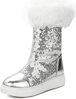 Aisun Women s Warm Glitter Sequins Thick Sole Faux Fur Lined Round Toe Flat  Platform Pull On 031d334d766d