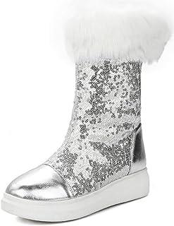 Aisun Women s Warm Glitter Sequins Thick Sole Faux Fur Lined Round Toe Flat  Platform Pull On 9d93525f353f