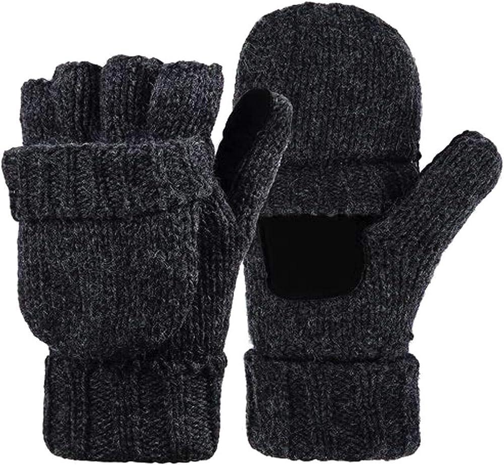 Hypeshops Warm Winter Fliptop Gloves Fingerless Pop Top Convertible Knit Wool Mittens