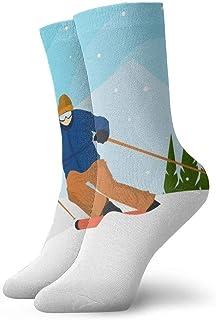 ASS, Pack de calcetines de vestir unisex Esquí plano Juegos Olímpicos de invierno Corea Ilustración Calcetines divertidos de poliéster