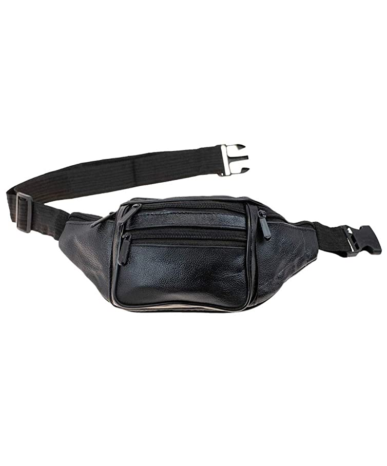 New Black Leather Waist Fanny Pack, Cruise, Travel, Sports, Festivals, Events, Multi-Purpose txfqlvtli208