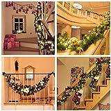 Weihnachtskranz mit LED Lichterkette Beleuchtung 270cm Weihnachtsgirlande künstlich Weihnachten Girlande Weihnachtsdeko Weihnachten, Türkranz Innen und Außen (rot) - 2