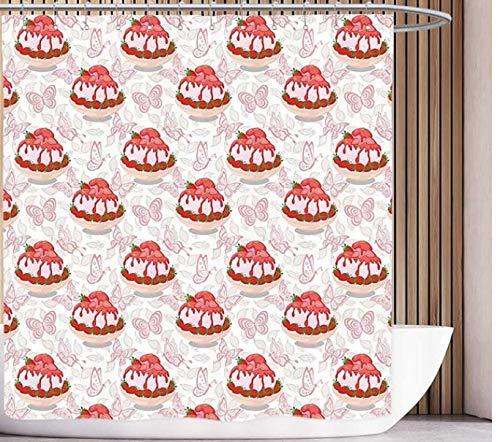 daimin Fun Duschvorhang Pink Sweet Dessert Pattern EIS mit Erdbeersauce in Schüssel und Schmetterlingen Pink Weiß und Rot 180x200cm