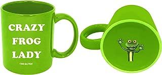 Funny Guy Mugs Crazy Frog Lady Ceramic Coffee Mug, Green, 11-Ounce