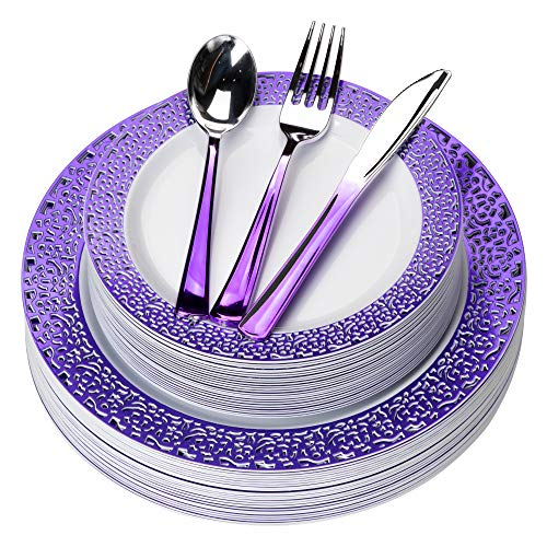 Purple Plates & Silverware Party Set