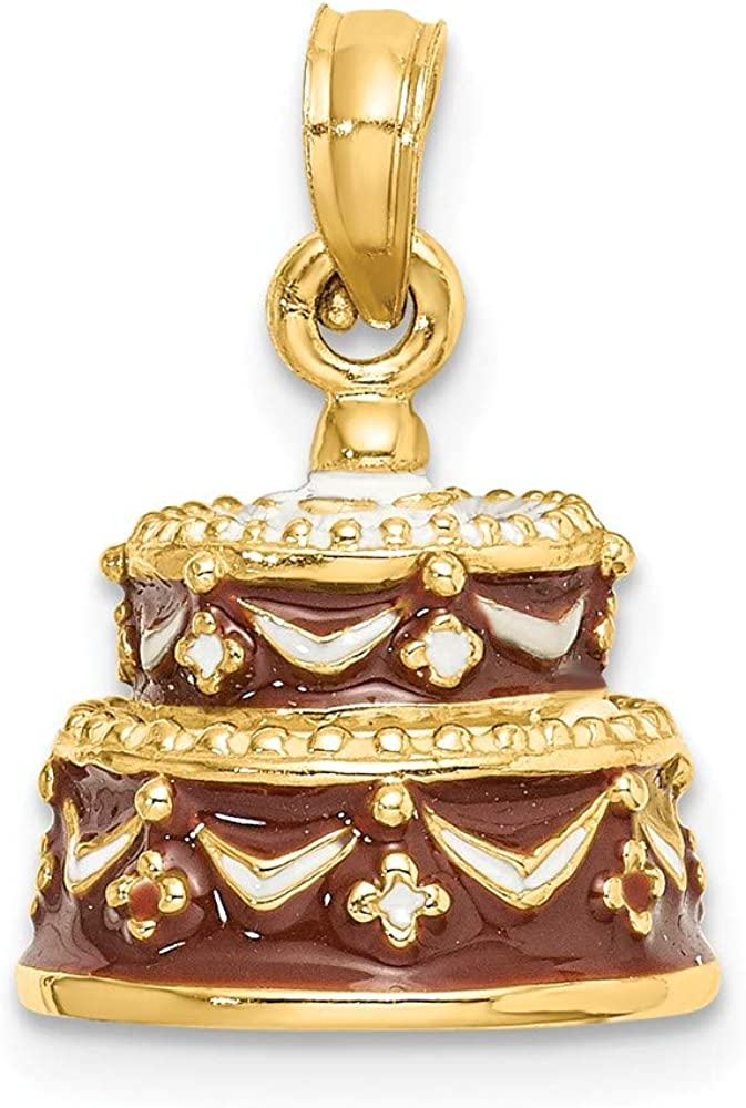 14K Yellow Gold Max 73% OFF 3-D Happy Birthday Cake Brand Cheap Sale Venue Pendant w Frosting Brown