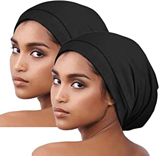 Sponsored Ad - Sleep Cap Satin Hair Wrap Adjustable-Protect Curly Hair, Stay on,2 Pack