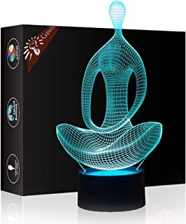 Meditation 3D Illusion Lamp Night Light, Gawell 7 Color Changing Touch Switch Table Desk Decoration Lamp Christmas Gift with Acrylic Flat & ABS Base & USB Cable Toy for Meditation Yoga Lover