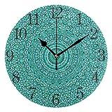 Reloj de pared redondo con diseño de mandala, color turquesa, silencioso, pintura al óleo para dormitorio, sala de estar, oficina, escuela, decoración del hogar
