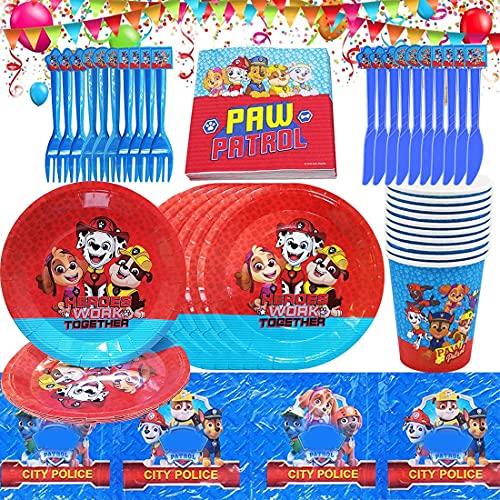 Juego de vajilla de cumpleaños para niños, Paw Dog Patrol que incluye platos, tazas, servilletas, manteles, decoraciones de cumpleaños de Paw Dog Patrol