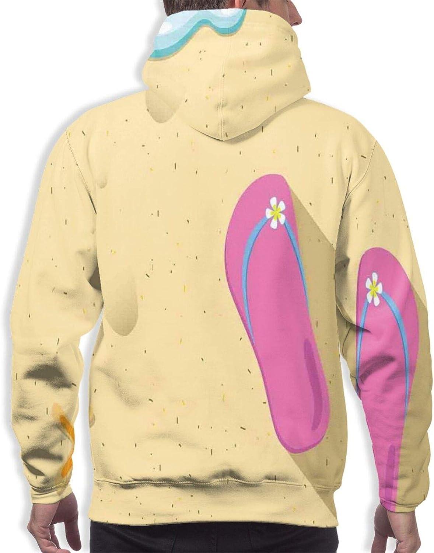 Men's Hoodies Sweatshirts,Pink White Hibiscus Flowers On Monochromatic Background of Leaves