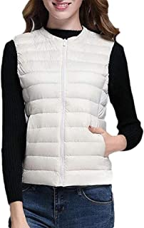 Macondoo Women Fashion Waistcoat Jacket Cotton-Padded Puffer Quilted Vest