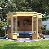 BillyOh 7x7 Picton Tongue & Groove Wooden Garden Summerhouse Corner Pent Roof & Felt