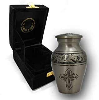 Love of Christ - Silver - Urns for Ashes - Burial Or Funeral Adult Cremation Urns for Adult Ashes - 100% Brass - (Small/Keepsake, Silver)