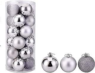 Christmas Ball Pendant, Decorative Shatterproof Christmas Tree Pendants Hanging 40mm Christmas Baubles Balls Ornaments Set Pack of 24 pcs (Silver)