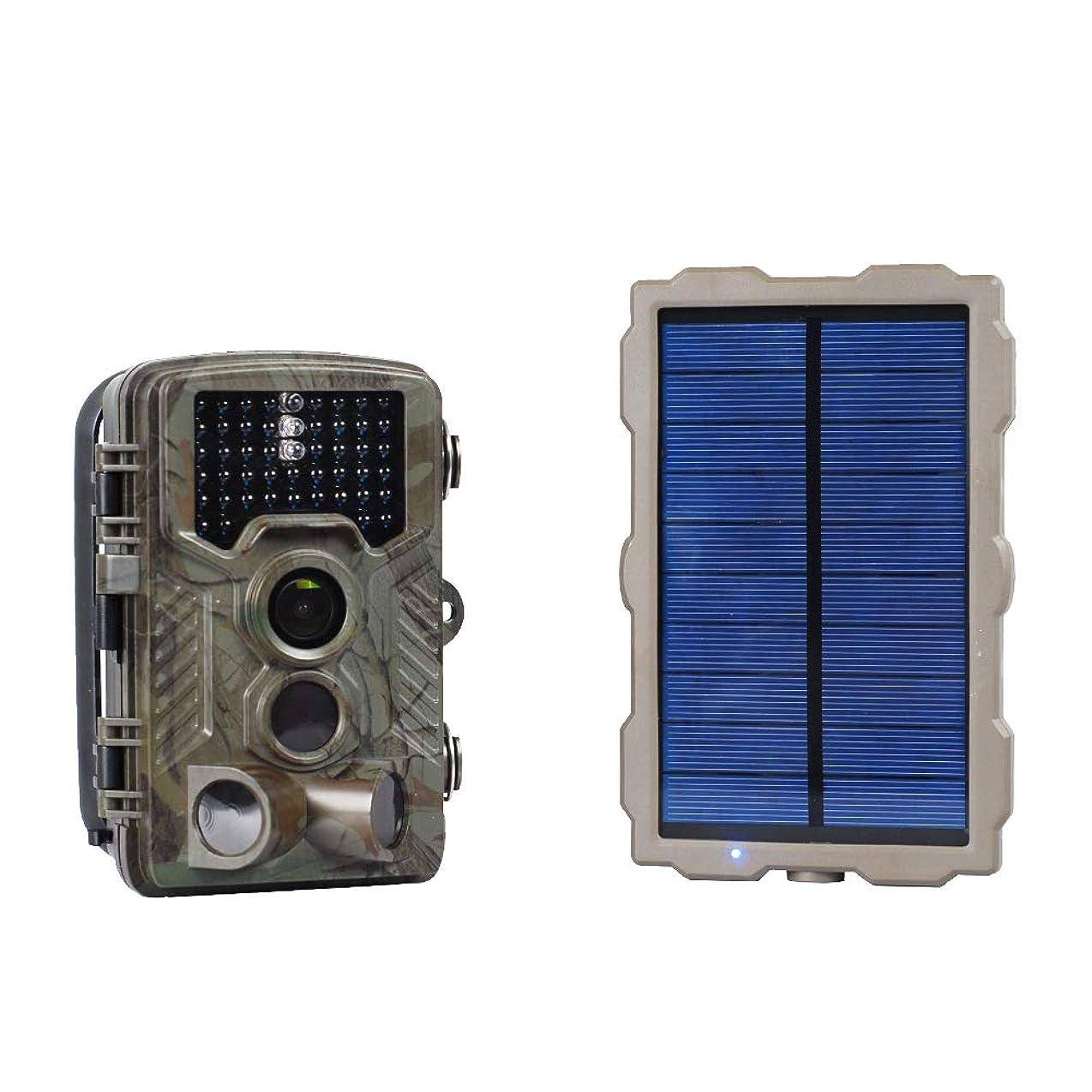 データ急性祈りDCHOUSE トレイルカメラ 動体検知カメラ 狩猟モニターカメラ 監視カメラ 46個IR LED |マウサー 16 MP | トリガー速度0.2 S 1080pビデオオーディオ 2.4インチHD LCDスクリーン| IP66 ソーラーチャージ