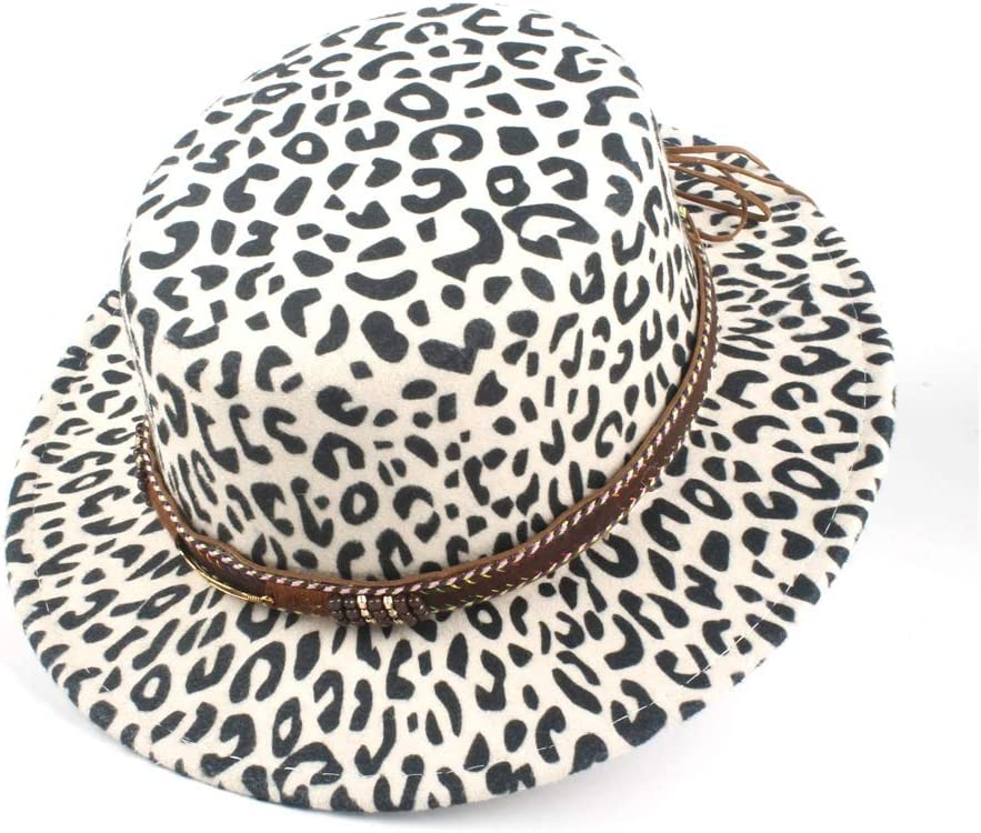 LIRRUI Top Hat Vintage Jazz Fashion Flat Top Hat Fashion Fedora Metal Leather Belt Decoration Unisex (Color : White, Size : 56-58)