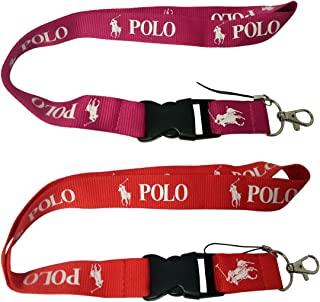 Hanitek 2pcs Outdoor Horse Riding Polo Sport Red Pink Lanyard Key Chain Clasp for Car Truck SUV Motorcycle RV House Office ID Lady Man Fashion Accessories