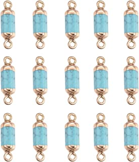 UR URLIFEHALL 20pcs Synthetic Gemstone Links Connector with Golden Iron Findings Double Loop Hexahedral Column Pendant for Charms Jewelry Making
